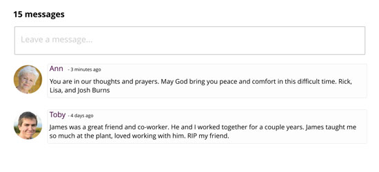 Online condolence message feature for the Book of Remembrance