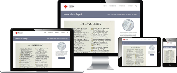 View the Book of Remembrance on many devices including phones, phablets, tablets and desktops using Responsive Design