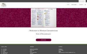 Image of Weston Super Mare Crematorium Book of Remembrance website